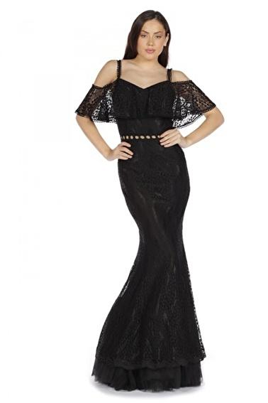 Pierre Cardin Dantel Askılı Uzun Balık Abiye Elbise Siyah